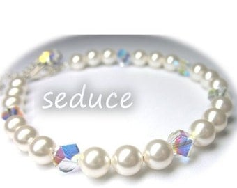 Bridal Swarovski Pearl and Helix Crystal Bracelet