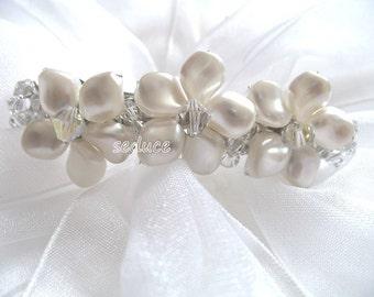 Swarovski Twisted Pearls Flower Bridal Wedding Hair Barette