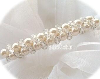 Bridal Hair Barrette Swarovski Crystals Pearls