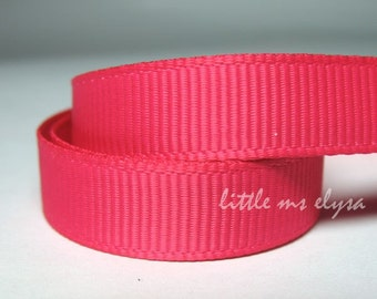 5 yards Plain Bright Pink Fuchsia Grosgrain Ribbon 3/8 inches wide