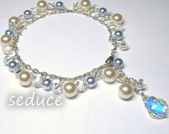 Swarovski Classic Baby Blue Pearls and Crystal AB Baroque Bracelet
