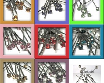 72 pcs Swarovski ANY COLOR Crystal Headpins 40mm Rhodium Anti nickel allergenic pin