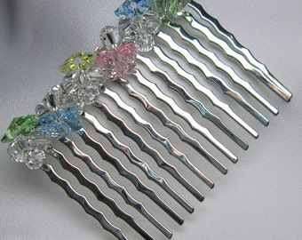 Flower Girl Comb beaded with Swarovski Butterfly Crystal Clusters