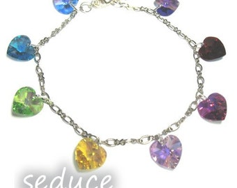 Swarovski Rainbow Crystal Hearts Charm Bracelet