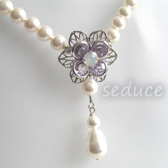 Swarovski Pearl and Crystal Flower Pendant Necklace for Bridal or Bridesmaid