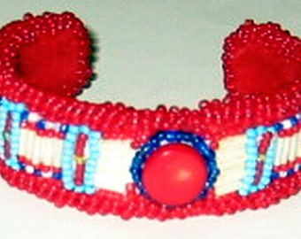 Red Coral Beaded Cuff