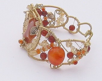 Citrine and Carnelian Beaded Cuff