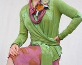 Cocoon Wrap Cardigan in new bright green hand printed bamboo jersey