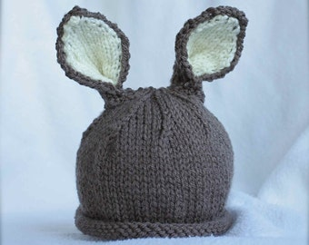 Sweetly knit bunny beanie with ears BROWN.  Sizes newborn to big kid available.  EASTER