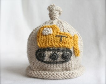baby boy hand knit hat with bulldozer digger applique.  sizes newborn to big kid available