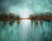 Large painting on canvas oversized art landscape minimalism teal textured