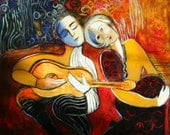 Abstract  figurative modern painting art  musical scene red blues primary colors marems made to order