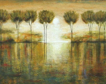 Landscape abstract trees textured art Marems Made to order