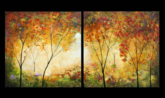 Forest tree paintings woods Sunday forest diptych marems Made to order