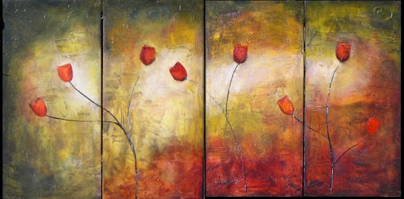 Abstract textured modern tulip large painting original art made to order marems