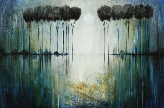 ABSTRACT  painting TREES original landscape textured art Made To Order Marems