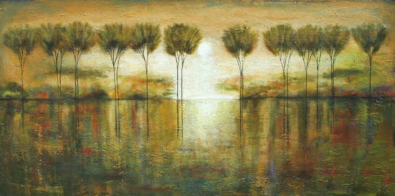 Made to order Abstract tree  painting  forest original landscape textured Art  4 ft Marems number 21