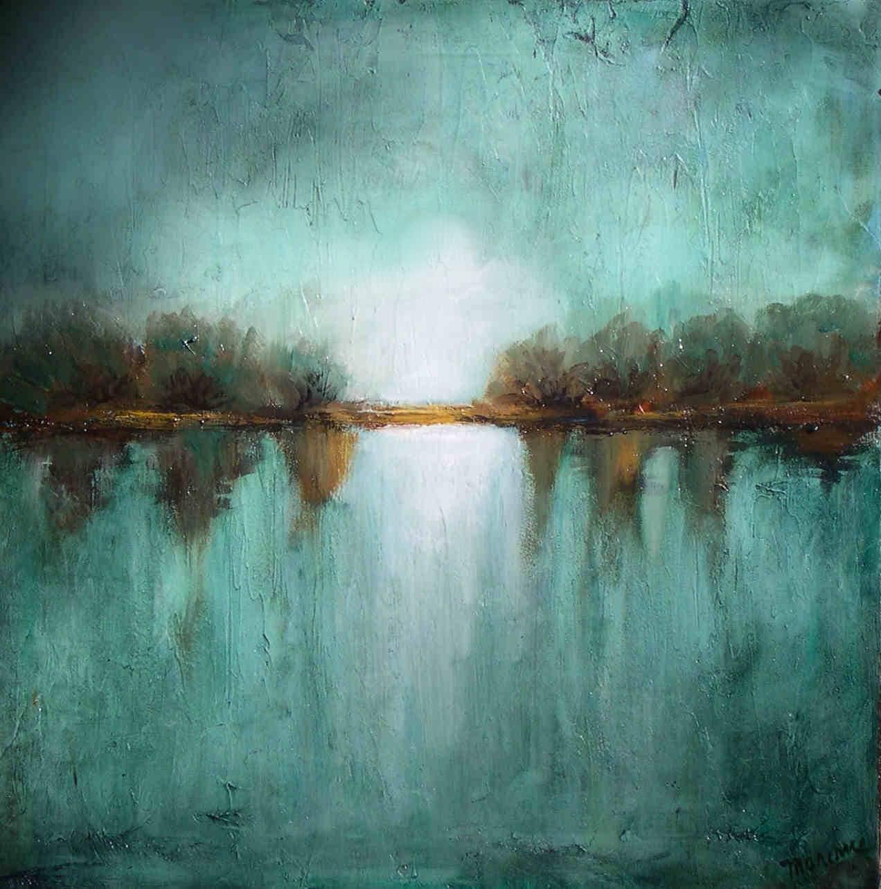 Original landscape minimalism teal textured made to order for Minimal art landscape