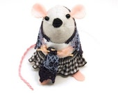 Knitting Mouse - collectable art rat artists mice felt mouse cute soft sculpture toy stuffed plush doll gift for granny nana mom mum - Pearl