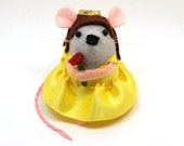Belle Mouse - Collectable Beauty and the Beast inspired art rat Emma Watson Disney Princess artists cute felt mouse soft sculpture toy plush