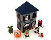 Halloween Haunted House Ornament sculpture cute felt scary building by TheHouseOfMouse - 13 Spook Street - MADE TO ORDER