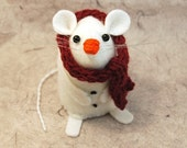 FREE SHIPPING - Christmas Snowman Mouse ornament felt mouse mice hamster rat cute gift for animal lover or collector