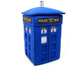 Felt TARDIS - Doctor Who inspired time machine art gift for Doctor Who fan husband boyfriend dad brother geek sci fi collectible ornament