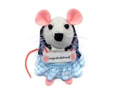 Congratulations Mouse - Custom Personalised sign - Choose your own message - cute Artisan felt mice artist rat art gift note animal - Paige