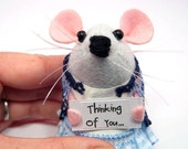 Thinking of you - Custom mouse ornament with message sign cute gift for animal lover - Paige - mto