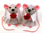 Lesbian Wedding Cake Topper ornament cute same sex couple gift just married couple valentines day gift - Mrs and Mrs Mouse - made to order