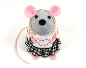 FREE SHIPPING Cross Stitching Mouse Ornament felt rat hamster mice cute gift Mothers Day for animal lover or collector  - Nikki