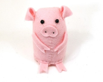Felt Pig - collectable art artists pig cute pink soft sculpture toy stuffed plush doll ornament gift for pig collector Figgis the fuzzy pig