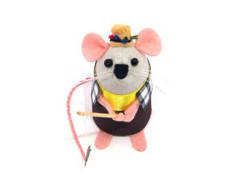 Fishing Mouse Ornament Artisan Felt Fisherman rat mice cute gift for animal lover or collector - Rod the Fishermouse