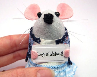Congratulations Custom Personalised Messenger Mouse - Choose your own message - cute Artisan felt mice rat ornament gift note animal - Paige