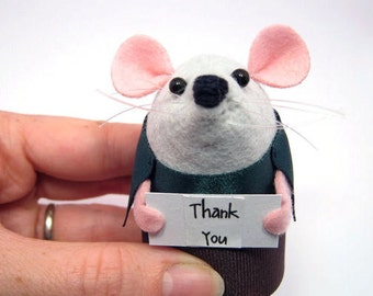 Thank you Custom Personalised message Mouse - Choose your own sign - cute Artisan felt mice rat ornament gift note animal – Parker