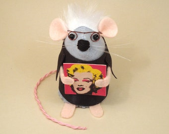 Andy Warhol Mouse Artisan ornament felt mice rat hamster cute funny gift for animal lovers and collectors by TheHouseofMouse