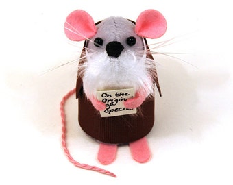 Charles Darwin Mouse Ornament Artisan Felt Rat hamster mice cute gift for animal lover or collector by The House of Mouse
