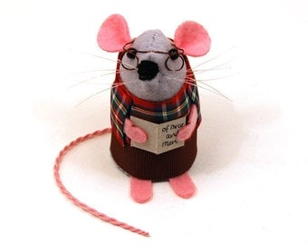 Librarian Mouse - collectable art rat - cute felt mouse - artists mice cute soft sculpture toy stuffed plush gift for bookworm husband dad