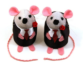 Gay Wedding Cake Topper same sex gay homosexual couple gift wedding gift memento couple - Mr and Mr Mouse - Personalised & Custom possible