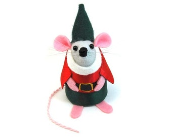 Elf Mouse Christmas Ornament Artisan Christmas Tree Decoration Mice Rat hamster Funny Cute  - Squelchy Berry-Toes the Christmas Elf