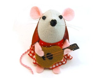 Guitarist Mouse Ornament Artisan felt rat with guitar hamster mice cute gift for guitarist gift for musician - Lizzy the Guitarist Mouse