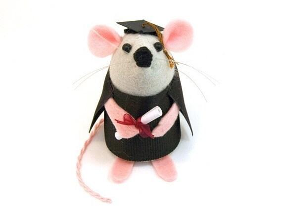 Graduation Mouse Ornament felt rat hamster mice cute gift for graduation student graduate - Theodore