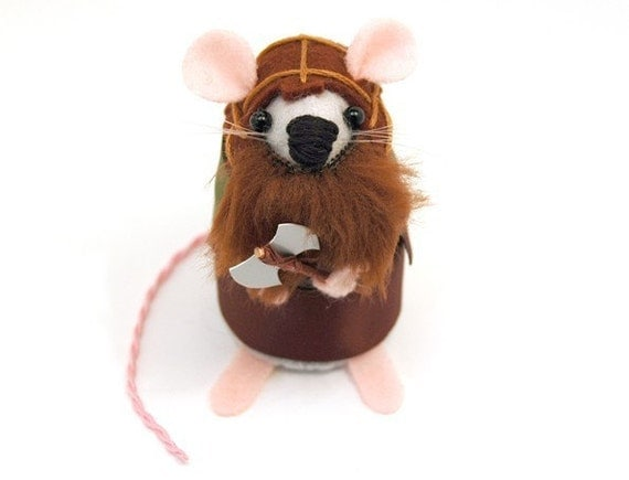 Gimli Mouse Ornament Lord of the Rings Artisan Felt Rat hamster mice cute gift for LOTR fans and collectors by TheHouseofMouse