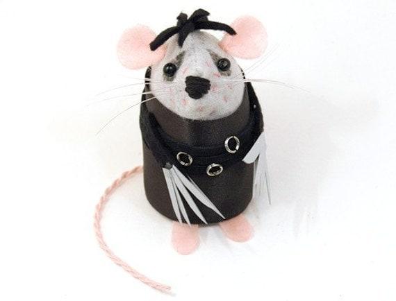 Edward Scissorhands Mouse Ornament Artisan Felt Rat hamster mice cute gift for Johnny Depp fan - Edward Scissorpaws Mouse