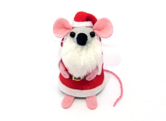 Red White Christmas Ornament Santa Ornament Christmas Tree Ornament Santa Mouse Christmas Decoration - Father Chris Mouse - MADE TO ORDER