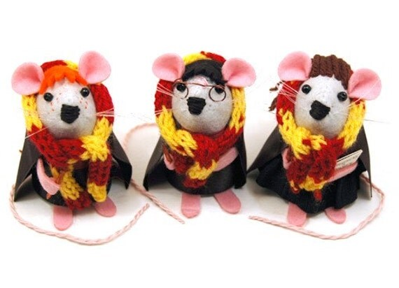 RESERVED Harry Potter set of 3 mice ornament felt mouse rat hamster mice cute gift for Harry Potter fan animal lover or collector