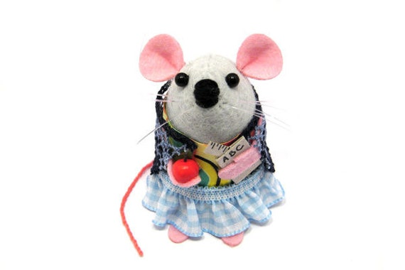 Back to School Teacher Mouse Mothers Day ornament felt hamster rat mice cute gift  - Miss Sugarplum the Teacher Mouse - READY to SHIP