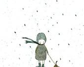 Rainy long walk - Print - 4x6 - Nursery art - Nursery decor - Kids room decor - Children's art - Children's wall art - kids wall art
