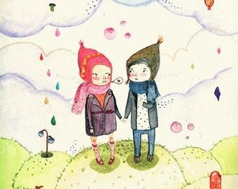 Winter love - Print - 4x6 - Nursery art - Nursery decor - Kids room decor - Children's art - Children's wall art - kids wall art