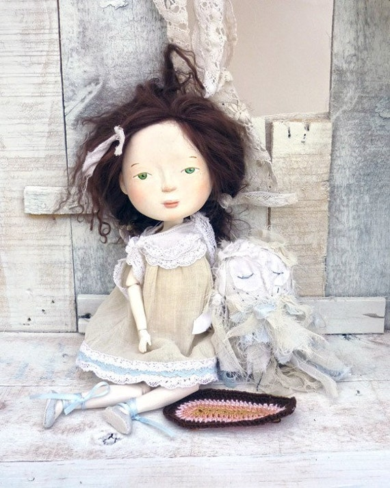 Super Fall Sale Viriginia and Costas the Owl, Original Art dolls, OOAK